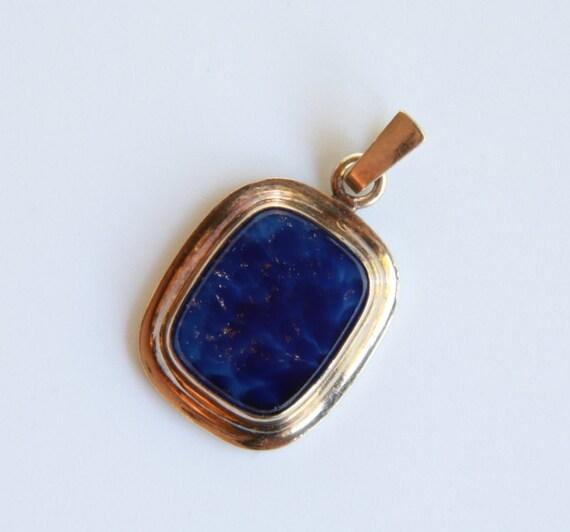Lapis lazuli pendant, Vintage retro lapis lazuli a