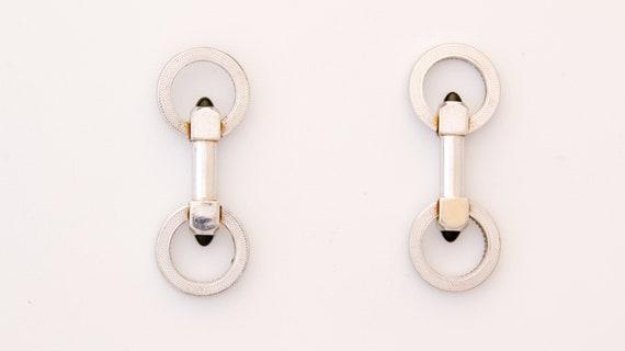 Men's onyx Cuff links, Antique Art Deco silver & b