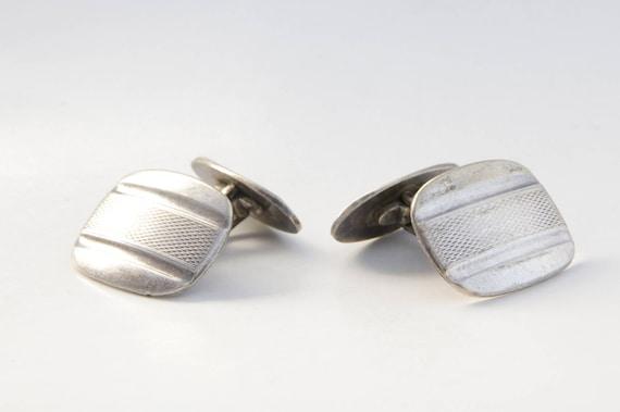 Men's Etched Cuff links, Antique silver men's cuff