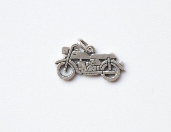 Motorcycle charm, Vintage Motorcycle Charm, Silver