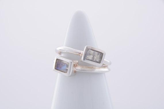 Moonstone Gemstone Ring, Vintage Faceted Baguette