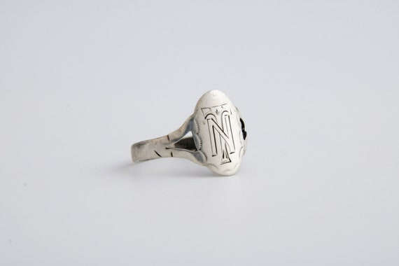 Initials TN Signet Ring, Antique Initials Silver S