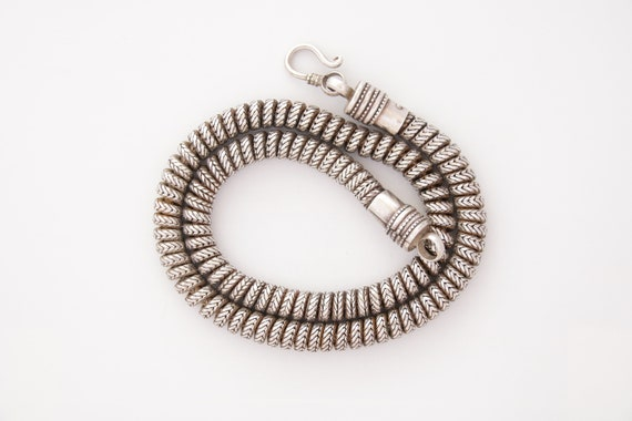 Snake Chain Necklace, Vintage Indian Silver Snake
