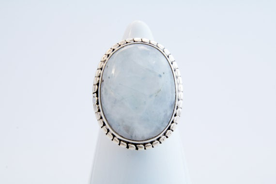 Moonstone statement ring, Oval moonstone and silve