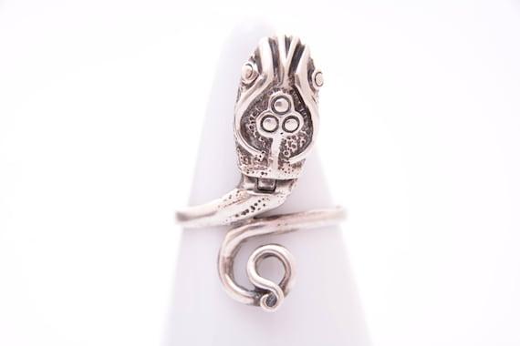Snake Box Ring, Vintage Sterling Silver Tribal Sna