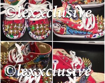 Custom Distress Kid Converse Hi Top Disney Nickelodeon Chuck Taylor Birthday  Shoes Birthday Kicks Outfit Character 3e6708bc88c6