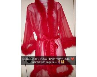 Fur Trim Sheer Mesh Sugar Daddy sexy robe vday valentines bride birthday  lingerie 65157de3e