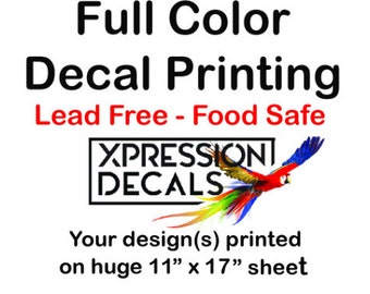 """Full Color Custom -  Ceramic or Glass Decal - Lg Print Area 11"""" x 17"""" -  You send us your image -  Waterslide Transfer - Ceramic Decal"""