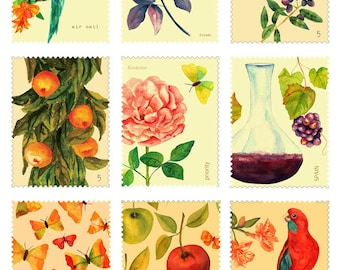 Vintage Postal Stamps - Ceramic Decals- Enamel Decal - Fusible Decal - Glass Fusing Decal ~ Waterslide Decal - 10193
