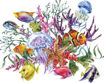 Tropical Sea Art - Ceramic Decals- Enamel Decal - Fusible Decal - Glass Fusing Decal ~ Waterslide Decal - 87447