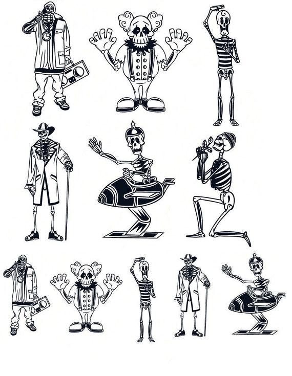 Dem Bones - céramique émail Stickers autocollant - sticker thermocollant - verre Fusing sticker ~ toboggan sticker - 232503341