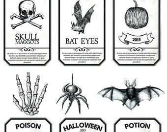 Apothecary JarsI - Perfect for Wine Glasses - Halloween - Ceramic Decals - Glass Fusing Decal ~ Waterslide Decal - 17925