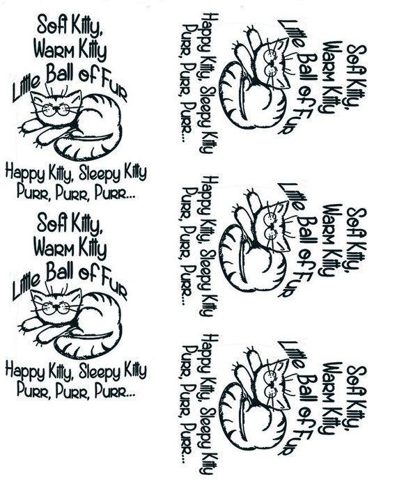 Soft Kitty Warm Kitty Ceramic Decals Enamel Decal Fusible