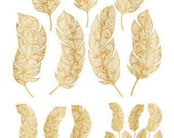 Gold Feathers - 104512696 ~22K gold  - Choose Ceramic or Glass Decal  - Platinum or Yellow Gold ~  Fusible Glass ~ Waterslide Decal