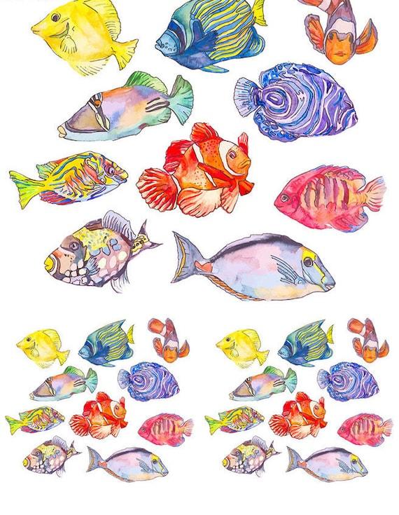 Ceramic Waterslide Decals Cartoon Fish  140818 LEAD FREE FOOD SAFE
