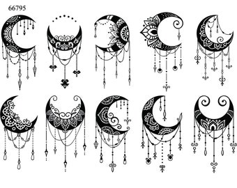 Black Crescent Moons - Ceramic Decals- Enamel Decal - Fusible Decal - Glass Fusing Decal ~ Waterslide Decal - 66795