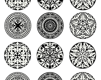 Black and White Decorative Round Circles -  Ceramic Decals- Enamel Decal - Fusible Decal - Glass Fusing Decal ~ Waterslide Decal - 77716
