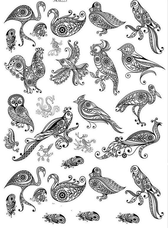 Faites défiler queue fantaisie oiseaux - en céramique émail Stickers autocollant - sticker thermocollant - décalque fusion de verre ~ toboggan sticker - 54582
