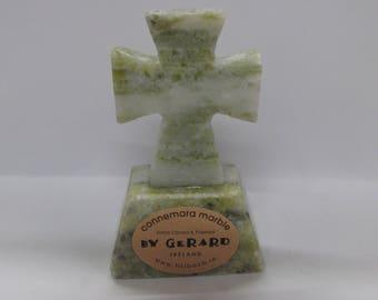 Hand Carved Connemara Marble Cross On Base