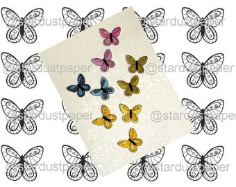Digital Stamp Butterflies Scrapbooking Cardmaking Home Decor Immediate Download