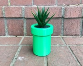 Geeky 3D Printed Super Mario Warp Pipe Planter Container Bin - Smooth and 8-Bit