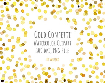 watercolor clipart digital confetti digital watercolor digital frame watercolor frame new year clipart christmas clipart gold