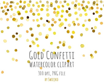 watercolor clipart digital confetti digital watercolor new year clipart christmas clipart gold