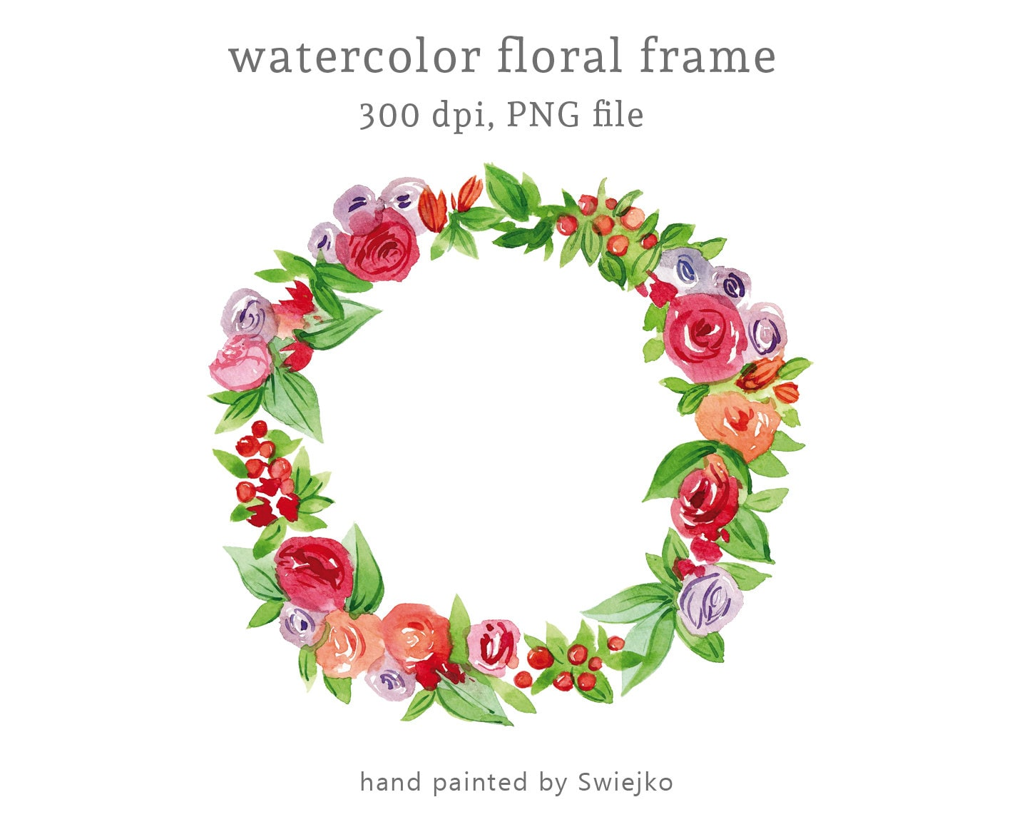 Digital Watercolour Clipart Watercolour Floral Frame Etsy