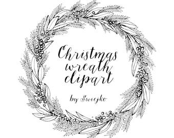 Christmas Wreath, Hand Drawn Clipart, holiday wreat, mistletoe, ink, printable christmas wreath