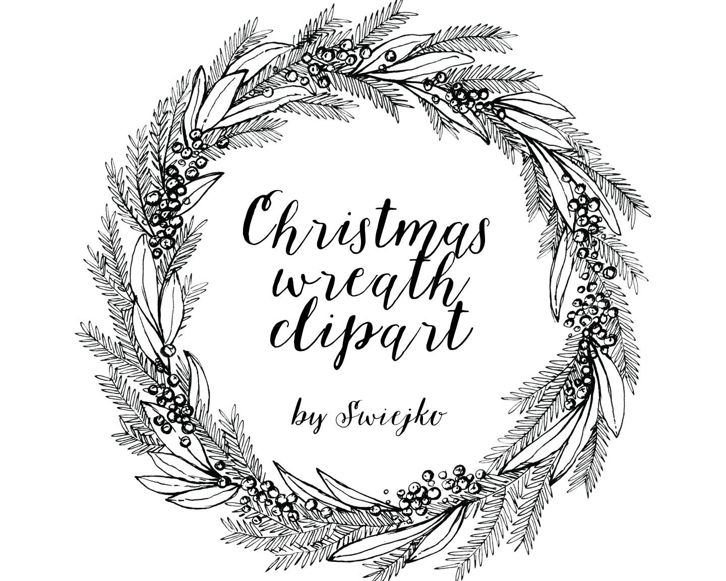 christmas wreath hand drawn clipart holiday wreat etsy rh etsy com christmas wreath clip art free images christmas wreath clipart free