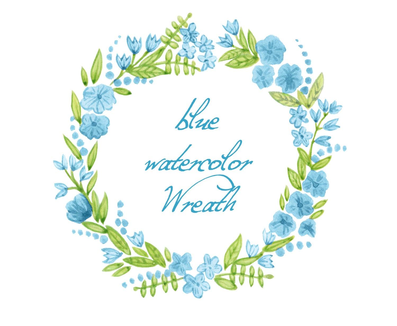 Digital wreath digital clipart watercolor flowers blue etsy image 0 izmirmasajfo