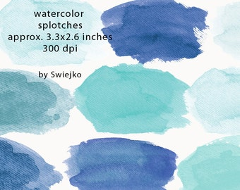 Watercolor Clip Art, Watercolor Splotches, Watercolor Strokes