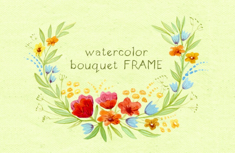 Floral Frame Digital Clipart Watercolor Frame Watercolor Flowers