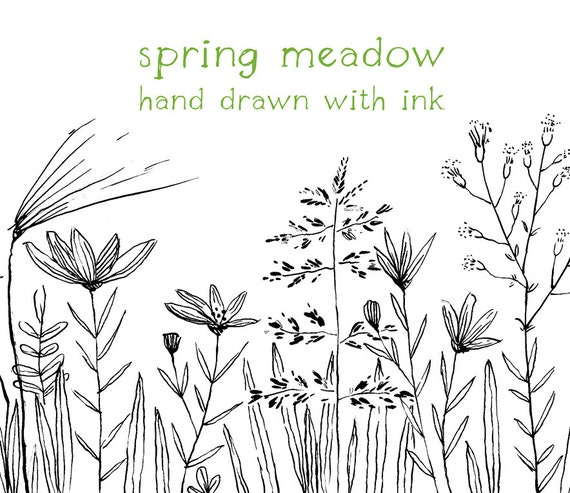 Digital Clipart Doodle Clipart Meadow Flowers Hand Drawn