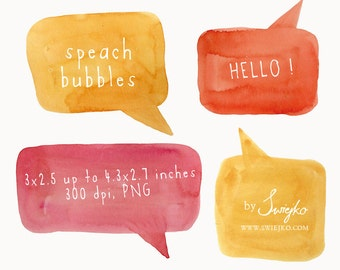 Watercolor Clip Art, Watercolor, Speech Bubble, Speach Clip Art