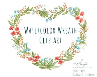 Floral Frame, Digital Clipart, Watercolor Flowers, Watercolor Frame, Heart Frame