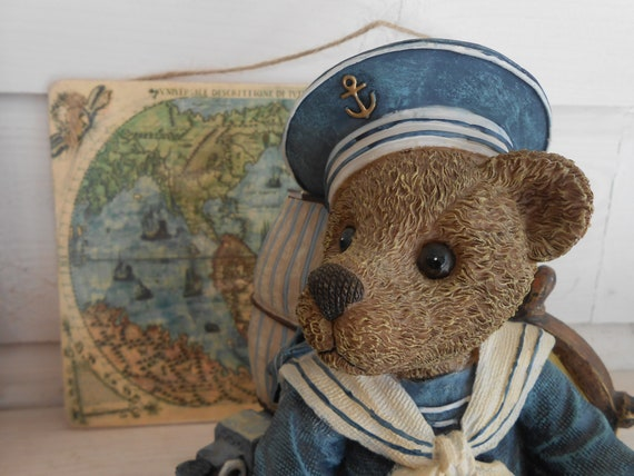 l'artiste ours en peluche musical figurine costume marin navires roue nautique coquillages cadeau pour lui sa crèche de décor français shabby chic étagère gardienne