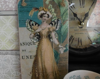 hanging wooden sign Regency lady butterfly collage feather hat Jane Austen Pride and Prejudice shabby chic french decor gift for her