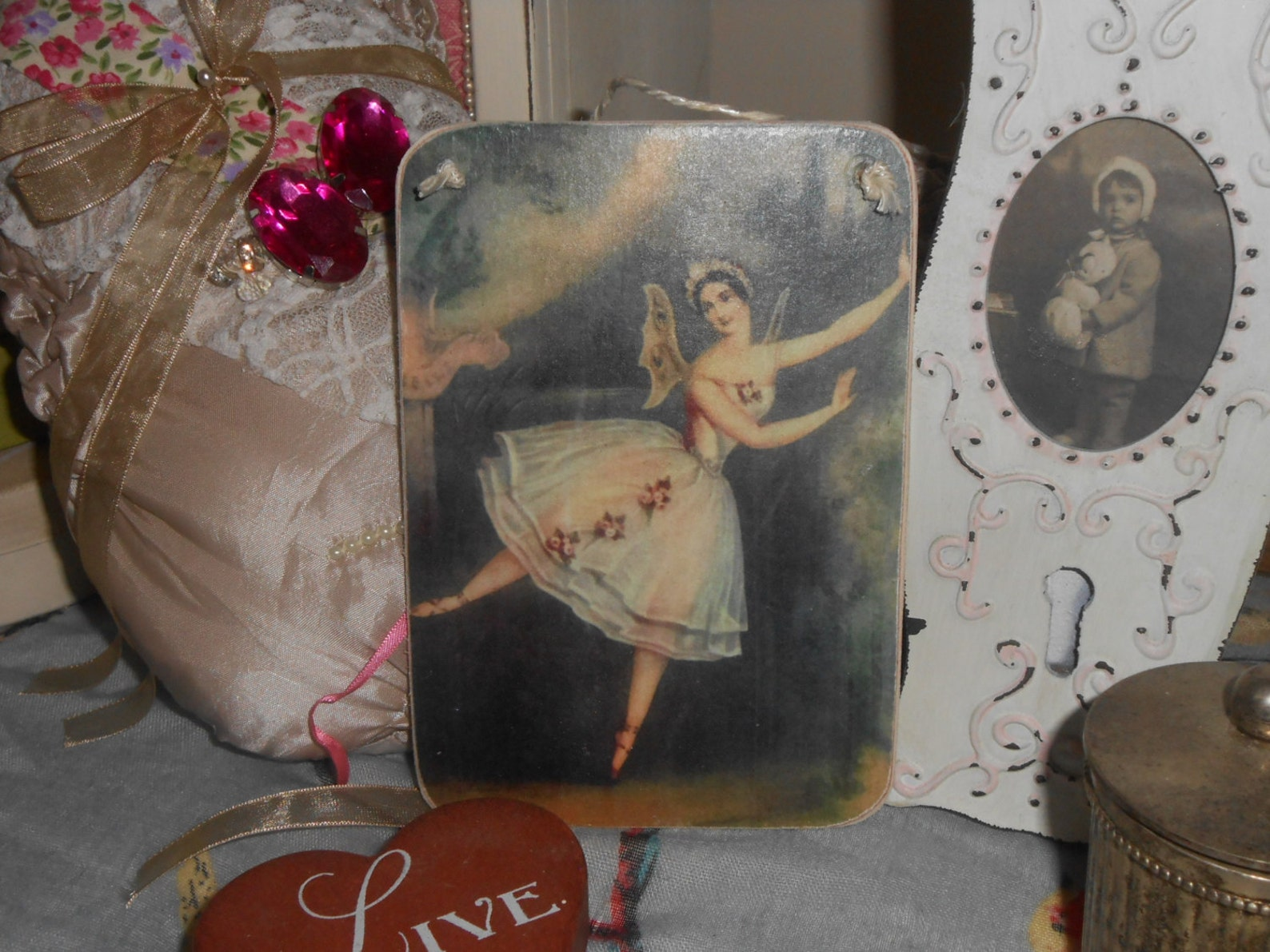 hanging wooden sign ballerina dancer fairy wings shabby chic ballet shoes victorian valentine gift for her french decor ornate l