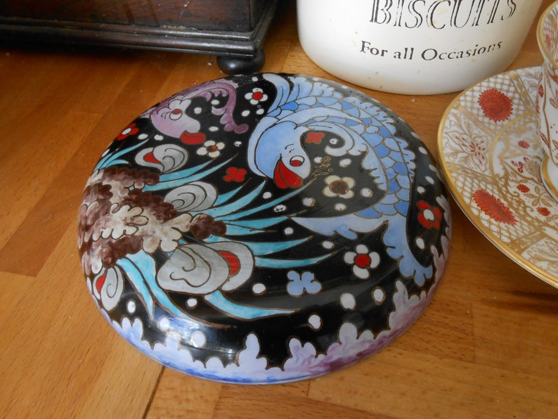 fused glass plate colourful pattern hand made Ecuador dolphins underwater scene novelty kitsch shabby chic gift for her decorative lily maud