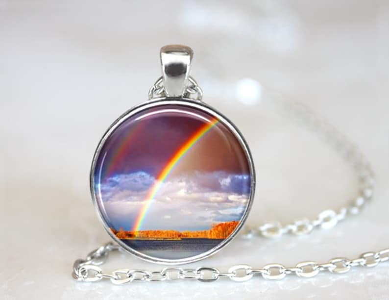 Pendant Necklace Rainbow Memorial for Pet Nature Jewelry #1775 Handcrafted One Inch Pendant