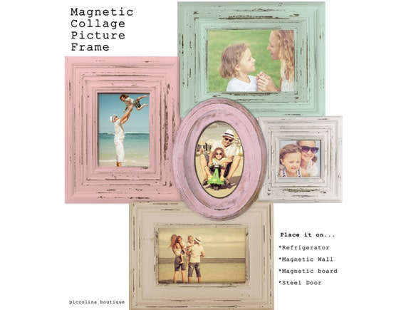 Magnetic Collage Picture Frame Pink And Green Vintage Style Etsy