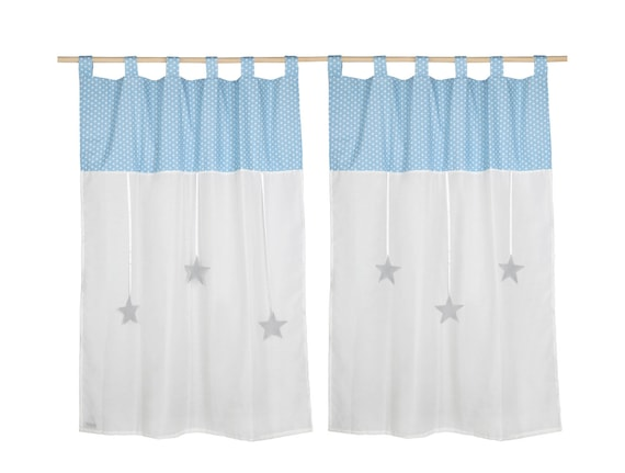 Nursery Tap Top Curtains Decorative Blue Stars High