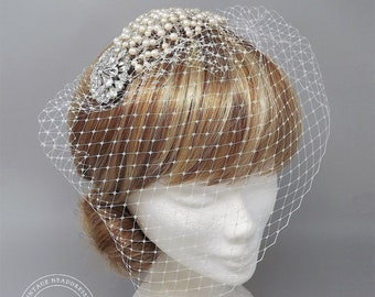116e316eddde5 Birdcage Veil Bridal Headpiece