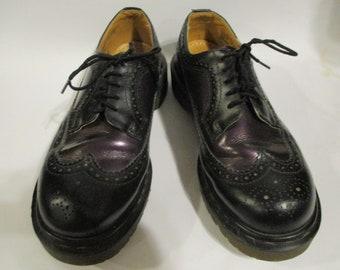 5d6ab126ac Vintage Dr Martens Wingtip Brogue shoes 3989 made in England Black/Purple  UK size 7