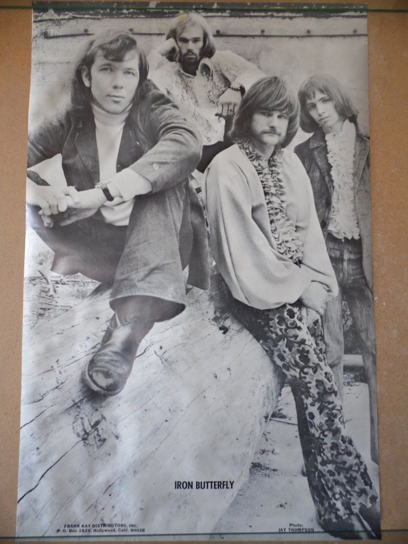 Vintage Iron Butterfly black and white poster