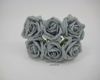 18 Stems Artificial Roses - STORM GREY