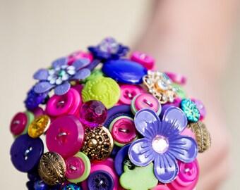 Flower girls posy button bouquet
