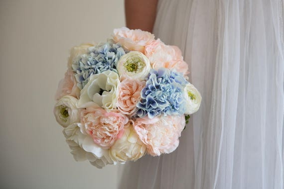 Pastel Blush Silk Faux Flower Bouquet Hydrangeas Peony Roses Etsy