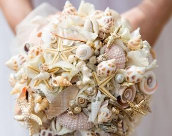 beach inspired shell bouquet